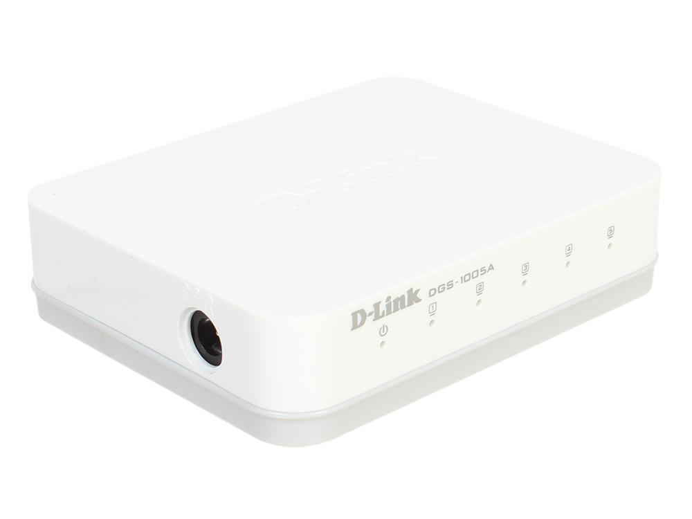 Коммутатор D-Link DGS-1005A/D1A Неуправляемый коммутатор с 5 портами 10/100/1000Base-T, функцией энергосбережения и поддержкой QoS коммутатор d link dgs 1008a d1a неуправляемый коммутатор с 8 портами 10 100 1000base t и функцией энергосбережения