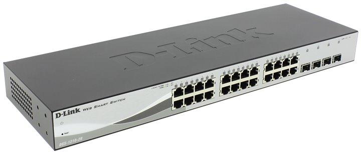 Коммутатор D-Link DGS-1210-28/C1A Настраиваемый коммутатор WebSmart с 24 портами 10/100/1000Base-T и 4 портами 1000Base-X SFP коммутатор d link dgs 1100 05 a1a настраиваемый компактный коммутатор easysmart с 5 портами 10base t 100base tx 1000base t