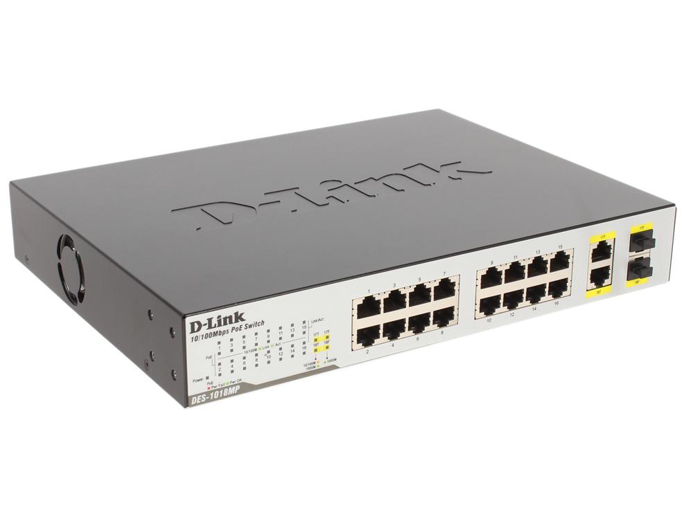 Коммутатор D-Link DES-1018MP/A1A Неуправляемый коммутатор с 16 портами 10/100BASE-TX с поддержкой PoE, 2 комбо-портами 10/100/1000BASE-T/SFP и функцие адаптер powerline d link dhp 346av a1a powerline коммутатор с поддержкой homeplug av