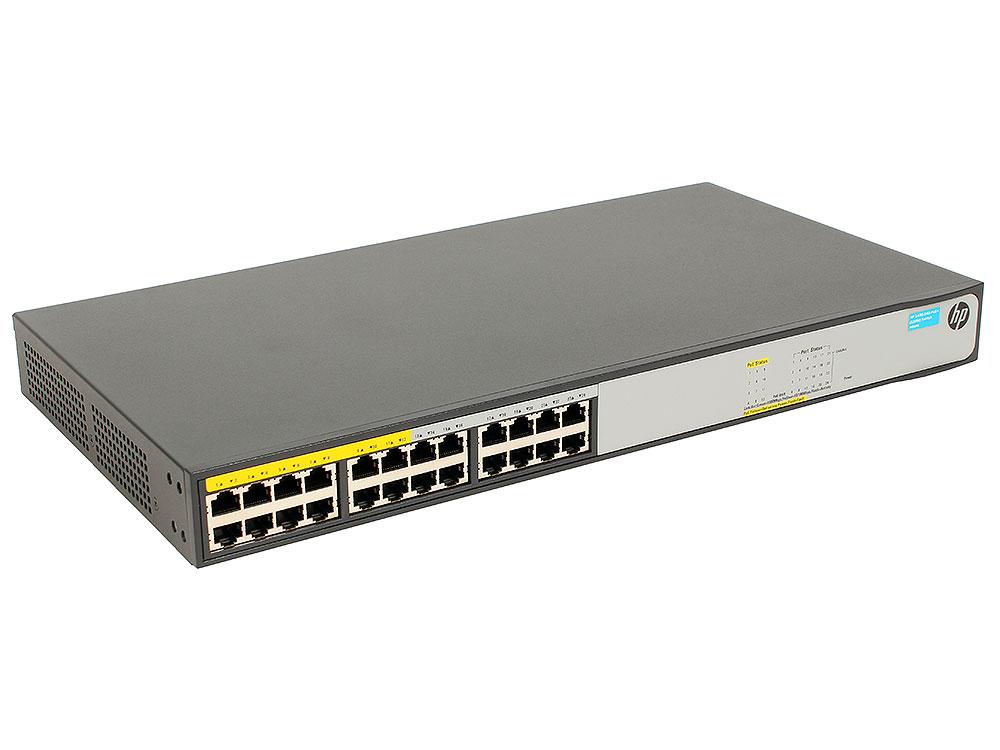 Коммутатор HP 1420-24G-PoE+ (JH019A) Неуправляемый коммутатор 24*1Гб/c, POE 124Вт, без вент.