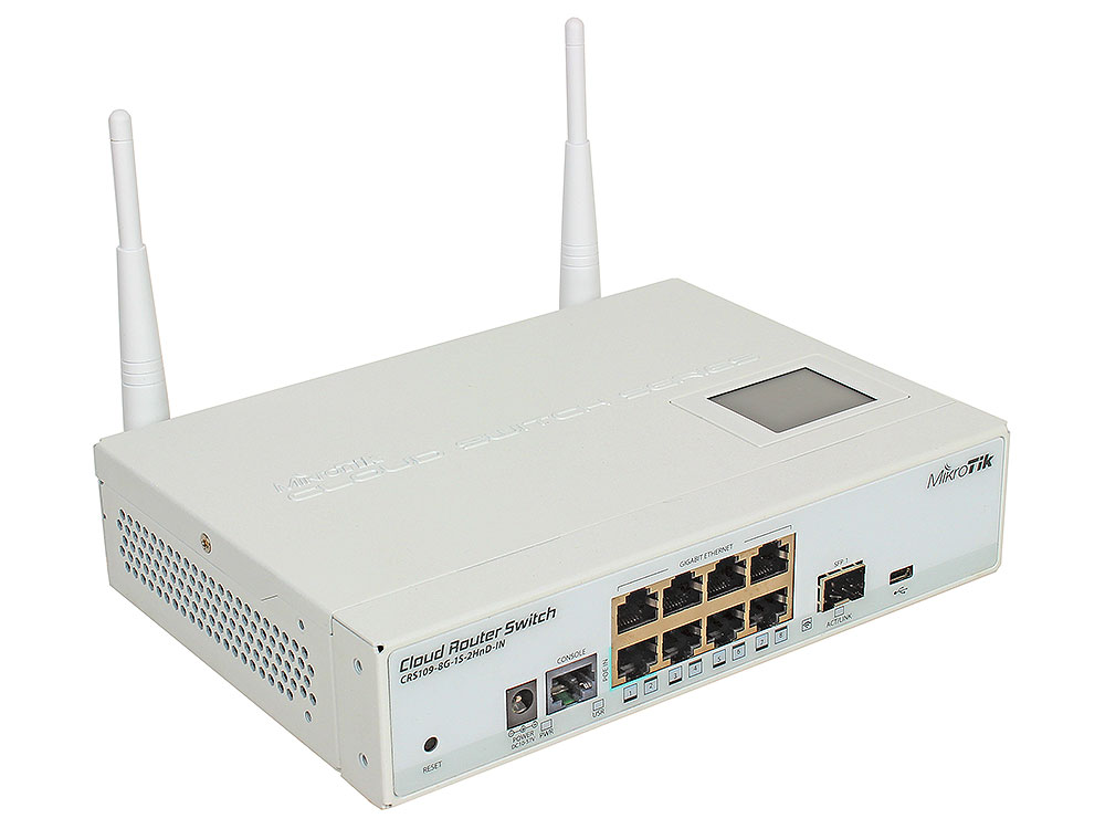 Маршрутизатор MikroTik CRS109-8G-1S-2HnD-IN 8x10/100/1000Mbps 1xSFP 1xmicroUSB Wi-Fi цена