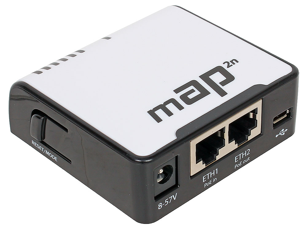 Точка доступа MikroTik RBmAP2n 802.11n 300Mbps 2.4ГГц 4xLAN точка доступа mikrotik wap 802 11n 300mbps 2 4ггц черный rbwap2nd be