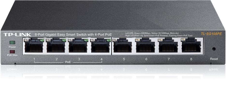 Коммутатор TP-LINK TL-SG108PE Easy Smart гигабитный 8-портовый коммутатор с 4 портами PoE адаптер poe tp link tl poe10r разветвитель poe сплиттер