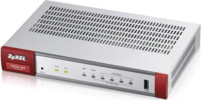 Межсетевой экран Zyxel USG20-VPN Межсетевой экран для малого офиса с двухдиапазонной точкой доступа 802.11ac и SFP-слотом межсетевой экран zyxel usg 60w 4xgblan 2xgbwan wlan802 11n 600 mbps 2 4ггц и 5ггц 2xusb