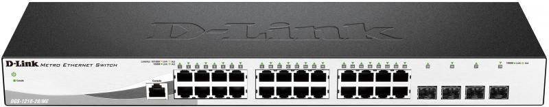 Коммутатор D-Link DGS-1210-28/ME/A2A Управляемый коммутатор 2 уровня с 24 портами 10/100/1000Base-T и 4 портами 1000Base-X SFP коммутатор d link dgs 1510 28 a1a стекируемый коммутатор smartpro с 24 портами 10 100 1000base t 2 портами 1000base x sfp и 2 портами 10gbase x sfp