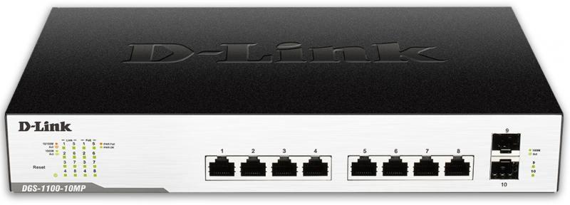 Коммутатор D-LINK DGS-1100-10MP/B1A управляемый 8 портов 10/100/1000Mbps 2xSFP цена и фото