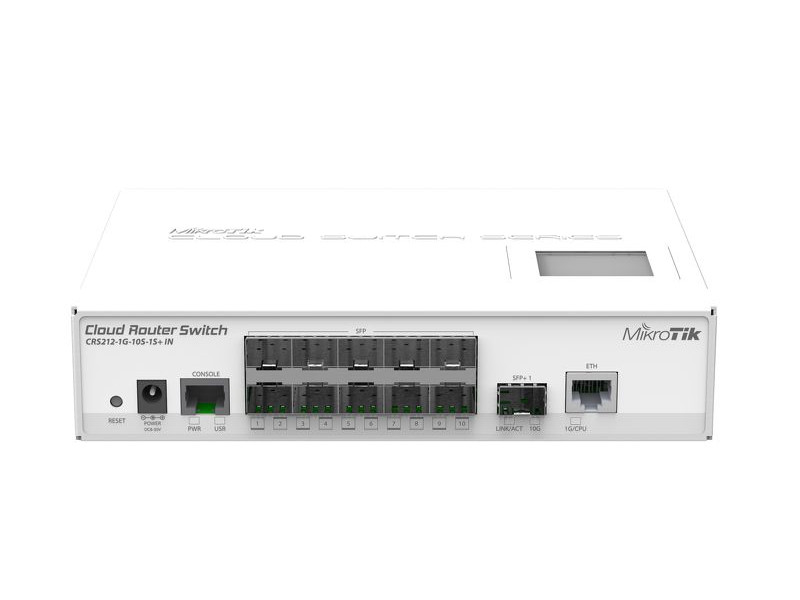 Коммутатор MikroTik CRS212-1G-10S-1S+IN Cloud Router Switch 212-1G-10S-1S+IN with Atheros QC8519 400Mhz CPU, 64MB RAM, 1xGigabit LAN, 10xSFP cages, 1x