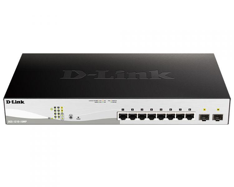 Коммутатор D-Link DGS-1210-10MP/F1A Настраиваемый коммутатор WebSmart с 8 портами 10/100/1000Base-T и 2 портами 1000Base-X SFP (8 портов с поддержкой коммутатор d link des 1210 52 c1a настраиваемый коммутатор websmart с 48 портами 10 100base tx 2 портами 10 100 1000base t 2 комбо портами 100 1000b