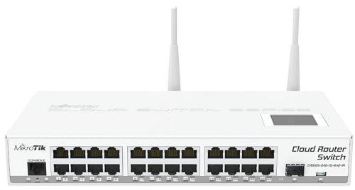 Коммутатор MikroTik CRS125-24G-1S-2HnD-IN 24xGigabit LAN, 1xSFP, LCD panel, 2.4Ghz 802.11b/g/n маршрутизатор mikrotik crs109 8g 1s 2hnd in 8x10 100 1000mbps 1xsfp 1xmicrousb wi fi