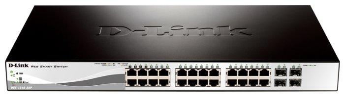 Коммутатор D-Link DGS-1210-28P/ME/B1A Управляемый коммутатор 2 уровня с 24 портами 10/100/1000Base-T и 4 портами 1000Base-X SFP (24 порта с поддержко