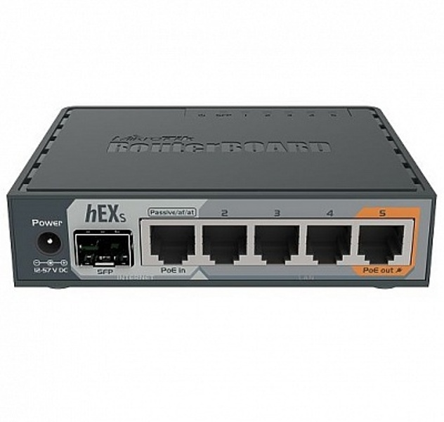 Маршрутизатор MikroTik RB760iGS hEX S with Dual Core 880MHz MHz CPU, 256MB RAM, 5 Gigabit LAN ports, SFP, USB, PoE-out on port #5, RouterOS L4, plasti все цены