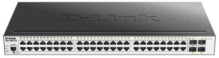 Коммутатор D-Link DGS-3000-52L/B1A Управляемый 2 уровня с 48 портами 10/100/1000Base-T и 4 портами 1000Base-X SFP коммутатор d link dgs 1100 06 me a1b управляемый коммутатор 2 уровня с 5 портами 10 100 1000base t и 1 портом 100 1000base x sfp