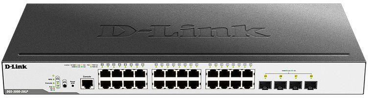 Коммутатор D-Link Switch DGS-3000-28LP/B1A Управляемый коммутатор 2 уровня с 24 портами 1000Base-T и 4 портами 1000Base-X SFP (24 порта с поддержкой PoE 802.3af/802.3at (30 Вт), PoE-бюджет 193 Вт) коммутатор d link dgs 3000 52l b1a управляемый 2 уровня с 48 портами 10 100 1000base t и 4 портами 1000base x sfp