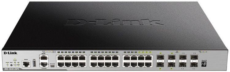 Коммутатор D-Link DGS-3630-28PC/A1ASI Управляемый стекируемый 3 уровня с 20 портами 10/100/1000Base-T, 4 комбо?портами 100/1000Base-T/SFP и 4 портами 10GBase-X SFP+ коммутатор d link dgs 1100 06 me a1b управляемый коммутатор 2 уровня с 5 портами 10 100 1000base t и 1 портом 100 1000base x sfp