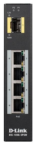 Коммутатор D-Link DIS-100G-5PSW/A1A Промышленный неуправляемый с 4 портами 10/100/1000Base-T, 1 портом 1000Base-X SFP