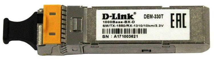 Модуль D-Link 330T/10KM/A1A WDM SFP-трансивер с 1 портом 1000Base-BX-D (Tx:1550 нм, Rx:1310 нм) для одномодового оптического кабеля (до 10 км) модуль d link dem 302s bxu 10a1a 10шт в коробке wdm sfp трансивер с 1 портом 1000base bx u tx 1310 нм rx 1550 нм для одномодового оптического ка