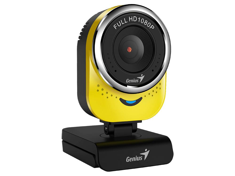 Веб-камера Genius QCam 6000 Yellow, 1080p Full HD, вращается на 360°, универсальное крепление, микрофон, USB цена и фото