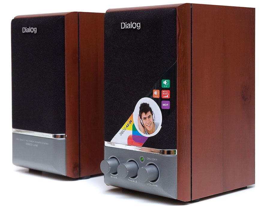 цена на Колонки Dialog Disco AD-04 2.0 Wood/Black Сателлиты по 8 Вт / 20 - 20 000 Гц / 220V