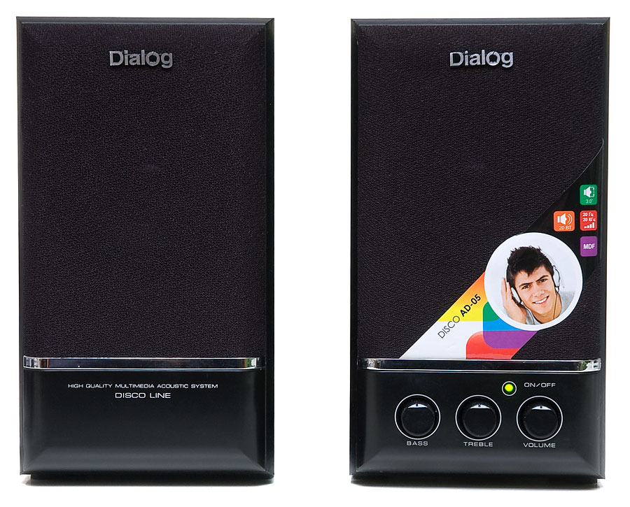 Колонки Dialog Disco AD-05 2.0 Black Сателлиты по 10 Вт / 20 - 20 000 Гц / 220V цена