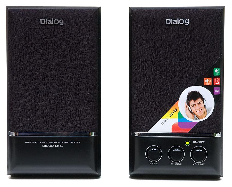 цена на Колонки Dialog Disco AD-05 2.0 Black Сателлиты по 10 Вт / 20 - 20 000 Гц / 220V
