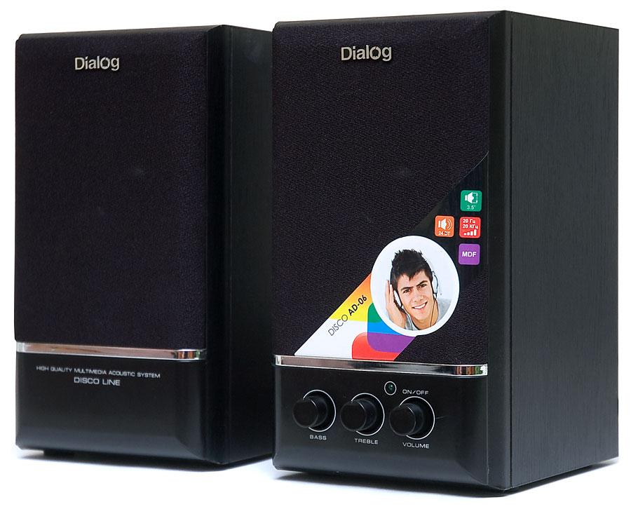 цена на Колонки Dialog Disco AD-06 2.0 Black Сателлиты по 12 Вт / 20 - 20 000 Гц / 220V