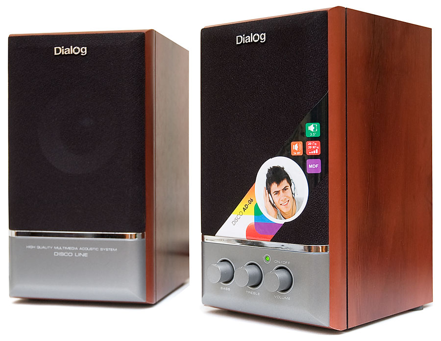 Колонки Dialog Disco AD-06 2.0 Сателлиты по 12 Вт / 20 - 20 000 Гц / 220V колонки dialog disco ad 05 cherry 20w rms 2 0