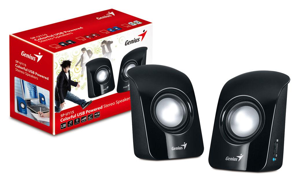 Колонки Genius SP-U115 Black 3W RMS, 3.5mm mini jack, Volume control, USB sdy001 3w bluetooth v2 1 speaker w mini usb usb 2 0 3 5mm fm tf black light blue