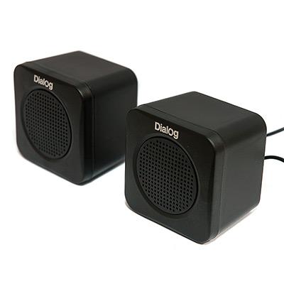 Колонки Dialog Colibri AC-01UP BLACK - 2.0, 1W RMS, черные, питание от USB
