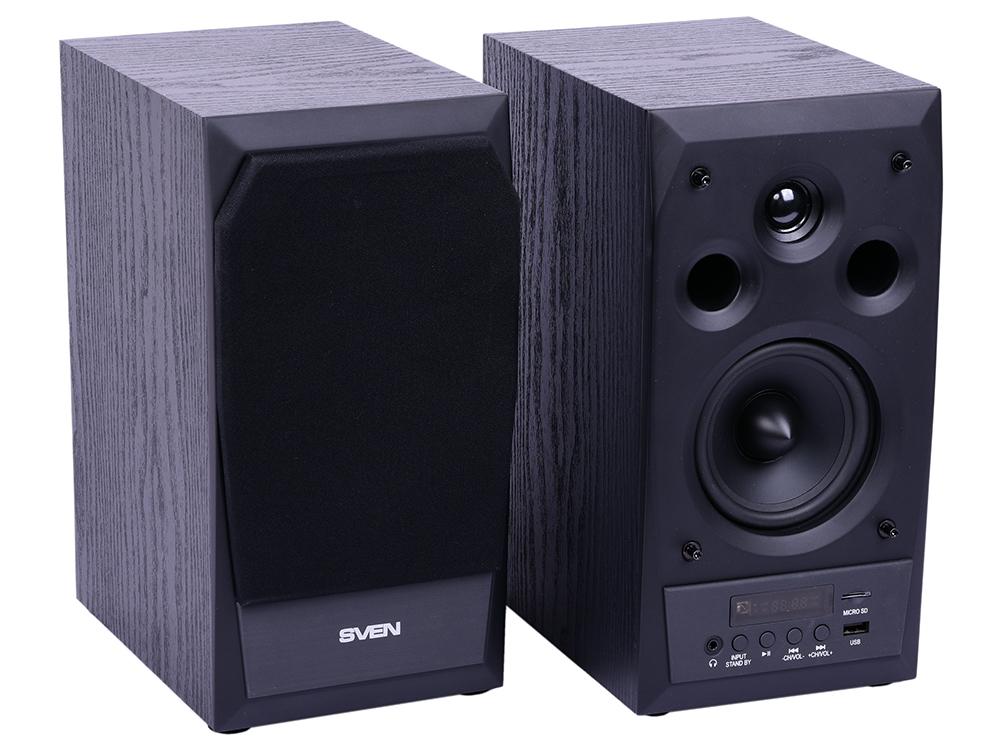 Колонки Sven MC-10 2.0 Black 2х25 Вт, 45-27000 Гц, Bluetooth, пульт ДУ, RCA, microSD, mini Jack, MDF, USB, 220V колонки mcgee energy bluetooth black