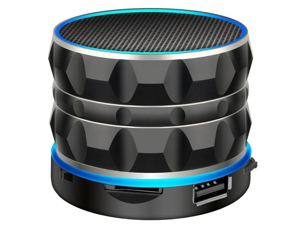 Портативная акустика Ginzzu GM-880B Black 3 Вт / 100 - 20000 Гц / FM / BT 3.0 / USB, AUX / АКБ цена и фото