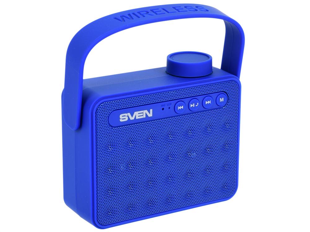 цена на Портативная колонка Sven АС PS-72 Blue 2 x 3 Вт, 150 - 20000 Гц, FM, Bluetooth, AUX(, USB, microSD, microUSB, АКБ/USB