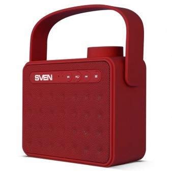 Портативная колонка SVEN АС PS-72 Red 2.0, 6Вт, 150 – 20 000 Гц, Bluetooth, FM, USB, microSD