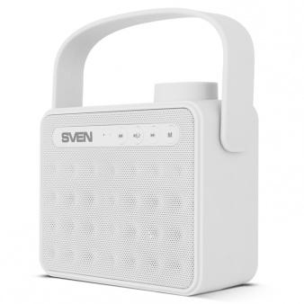 Портативная колонка SVEN АС PS-72 White 2.0, 6Вт, 150 – 20 000 Гц, Bluetooth, FM, USB, microSD портативная колонка sven ps 72 violet