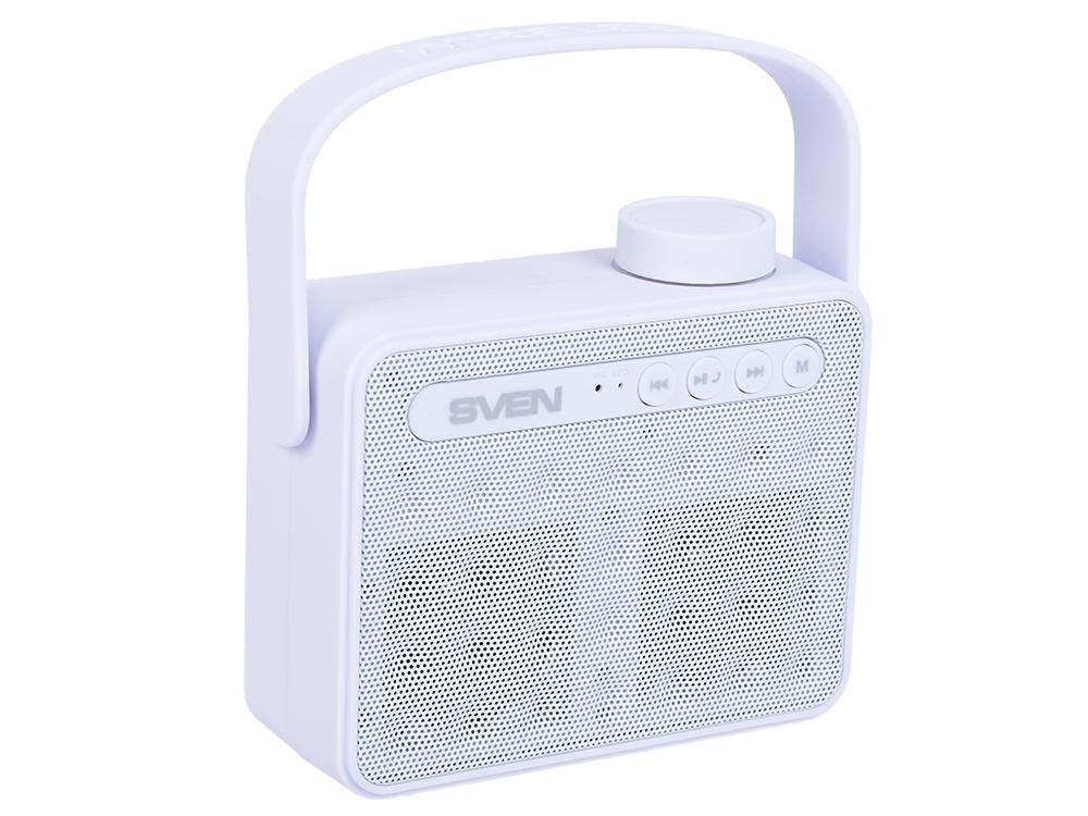 цена на Портативная колонка SVEN АС PS-72 White 2.0, 6Вт, 150 – 20 000 Гц, Bluetooth, FM, USB, microSD