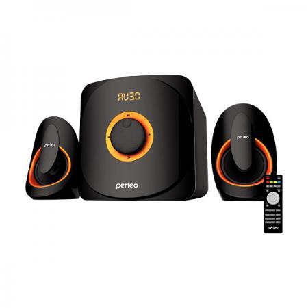 Акустическая система 2.1 Perfeo PF-3313 «MARS» Black/Orange 2x10Вт + 22Вт / 150 - 20000Гц / FM / BT 4.1 / USB, mini-Jack (3.5 мм) / 220V