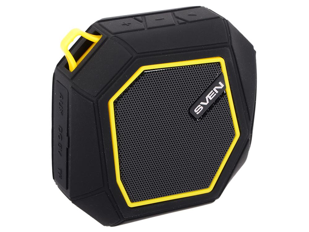 цена на Портативная колонка Sven PS-77 Black/Yellow 5 Вт, 120 - 20 000 Гц, FM, Bluetooth, microUSB, AUX, АКБ