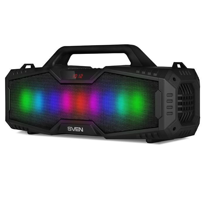 Портативная колонка Sven PS-480 Black 2 x 12 Вт, 100 - 20000 Гц, FM, Bluetooth, USB, microSD, mini-jack 3,5 мм, 2000mAh
