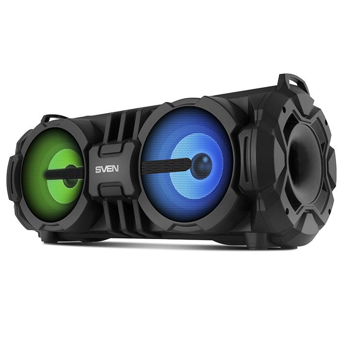 Портативная колонка Sven PS-485 Black 2 x 14 Вт, 90 - 22000 Гц, FM, Bluetooth, USB, microSD, mini-jack 3,5 мм, Jack 6.5 мм, 2000mAh