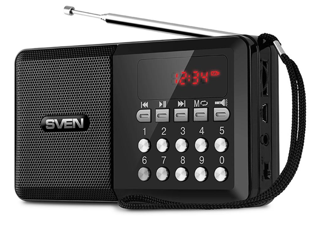 Портативная колонка Sven PS-60 Black 3 Вт, 120 - 20000 Гц, FM, USB, microSD, 600mAh портативная колонка harper ps 012 silver 3 вт 120 16000 гц bluetooth 3 0 microsd