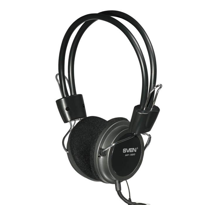 Гарнитура Sven AP-520 Black Проводные / Накладные с микрофоном / 20 - 20000 Гц / 106 дБ / Одностороннее / 2 x miniJack 3.5 мм стоимость