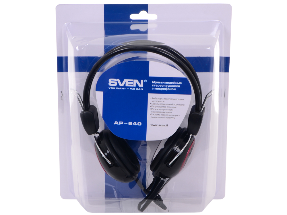 Гарнитура SVEN AP-640 с регулятором громкости, шумоподавление цена