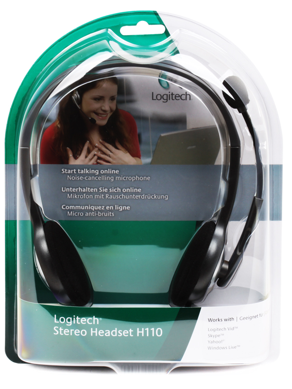Logitech Headset H110 genuine logitech h110 stereo headset with microphone black 3 5mm jack 240cm cable