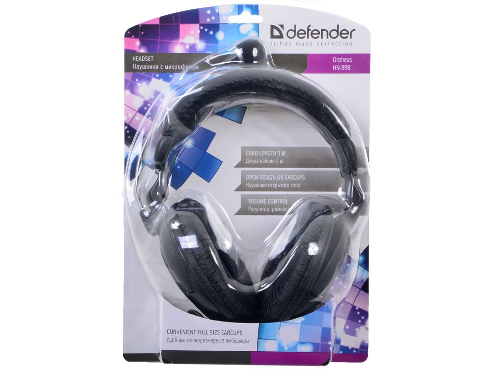 Гарнитура Defender Orpheus HN-898 Black Проводные / Полноразмерные с микрофоном / 20 Гц – 20 000 Гц / 105 дБ / Одностороннее / 2 x miniJack 3.5 мм цена и фото