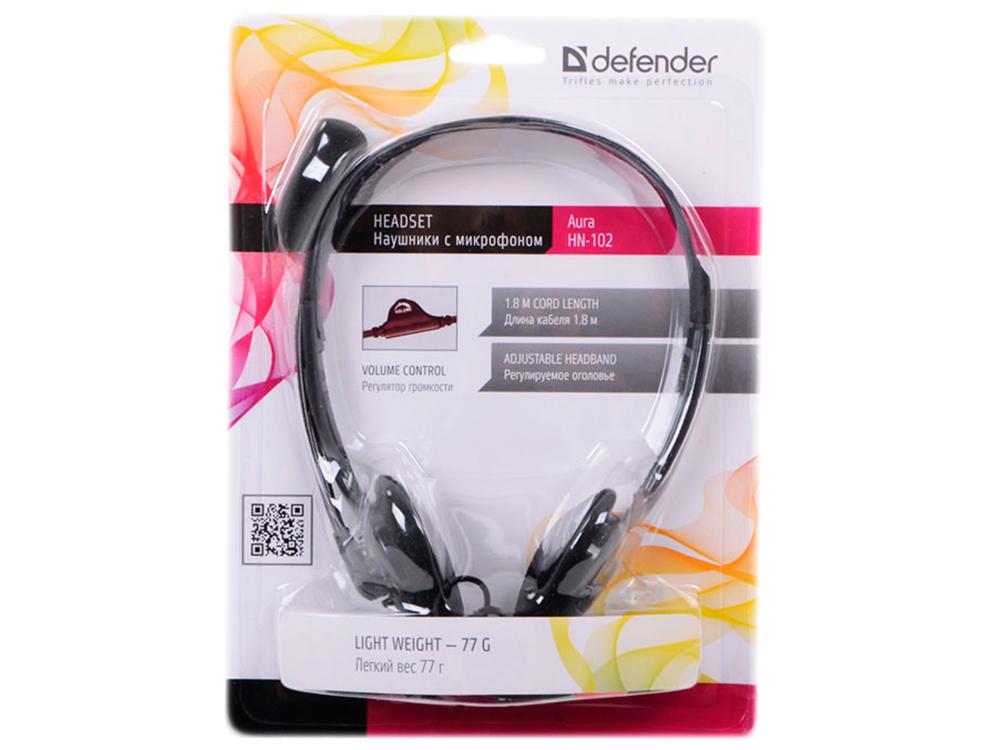 Гарнитура Defender Aura HN-102 Black Проводные / Накладные с микрофоном / 18 Гц – 20 000 Гц / 85 дБ / Одностороннее / 2 x miniJack 3.5 мм цена и фото