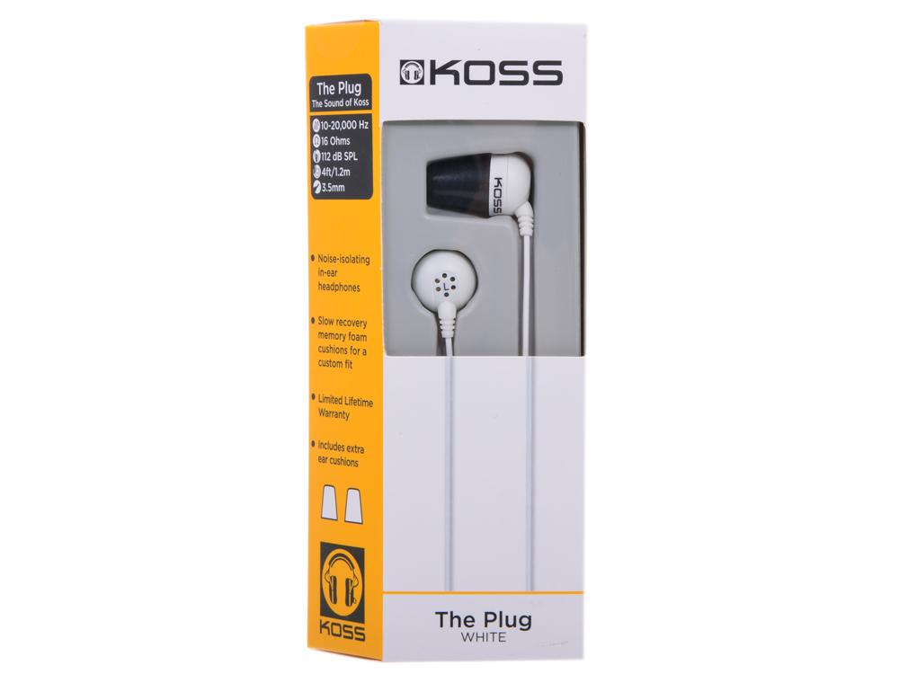 Наушники Koss The PLUG White Проводные / Внутриканальные без микрофона / 10 - 20 000 Гц / 112 дБ / miniJack 3.5 мм цена и фото