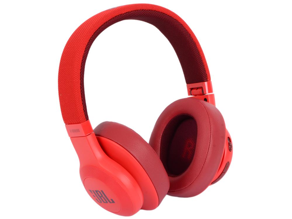Наушники JBL E55BT Red Проводные / Полноразмерные с микрофоном / 20 — 20 000 Гц / 96 дБ / Одностороннее / BlueTooth / microUSB / miniJack 3.5 мм наушники jbl e65bt white беспроводные проводные полноразмерные с микрофоном белый 20 гц 20 кгц одностороннее до 5 ч bluetooth mini jack 3 5 мм