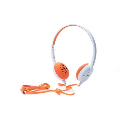 Наушники (гарнитура) HARPER HN-300 Orange Проводные / Накладные с микрофоном / Белый-оранжевый / 20 - 20000 Гц / 115 дБ / Двустороннее / miniJack 3.5 мм гарнитура jbl jble35wht накладные белый проводные
