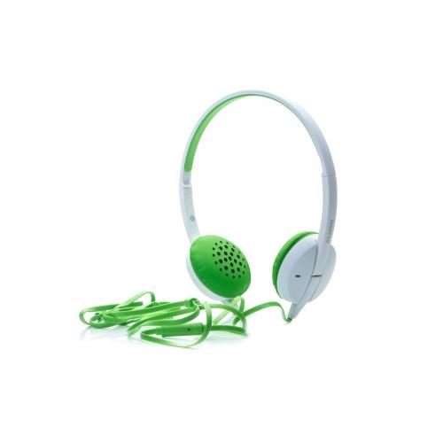 Наушники (гарнитура) HARPER HN-300 Green Проводные / Накладные с микрофоном / Белый-зеленый / 20 - 20000 Гц / 115 дБ / Двустороннее / miniJack 3.5 мм цена и фото