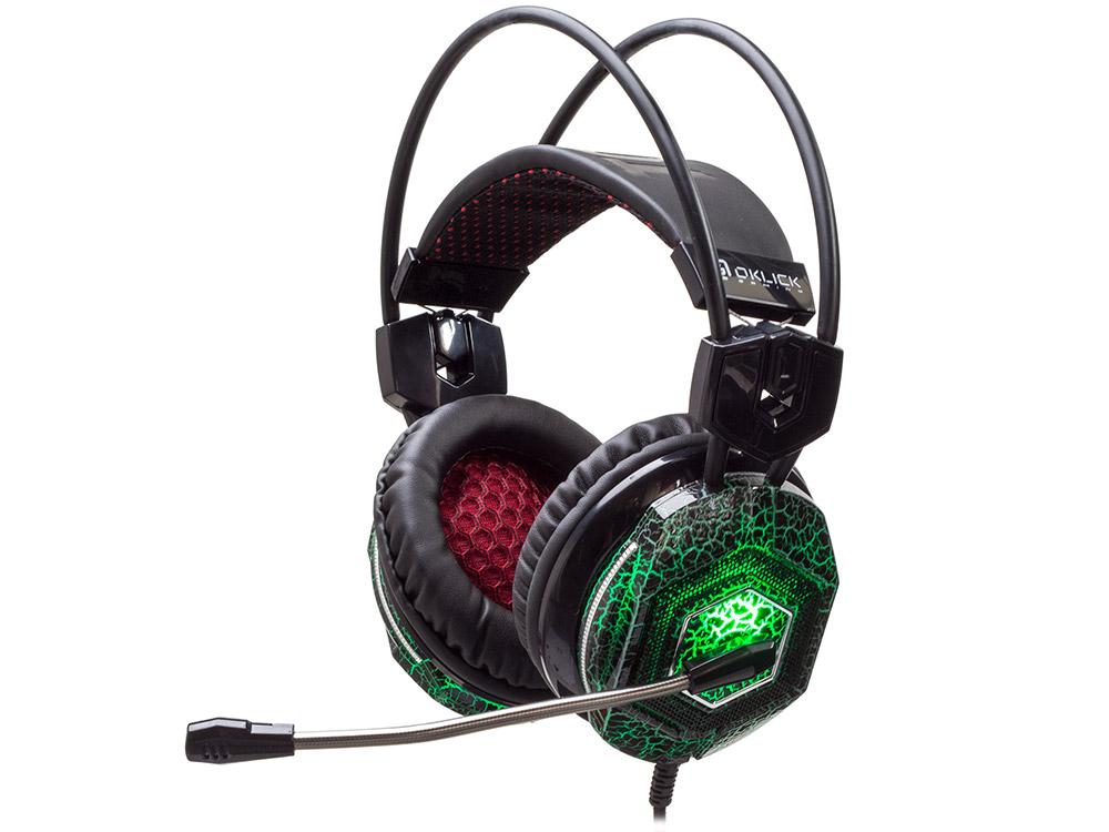 Игровая гарнитура проводная Oklick HS-L500G Проводные / Полноразмерные с микрофоном / Черный-зеленый / 20 Гц - 20 кГц / 105 дБ / Одностороннее / USB/ Mini-jack / 3.5 мм гарнитура oklick hs g300 проводные полноразмерные с микрофоном черный красный 20 гц 20 кгц 56 дб одностороннее mini jack 3 5 мм