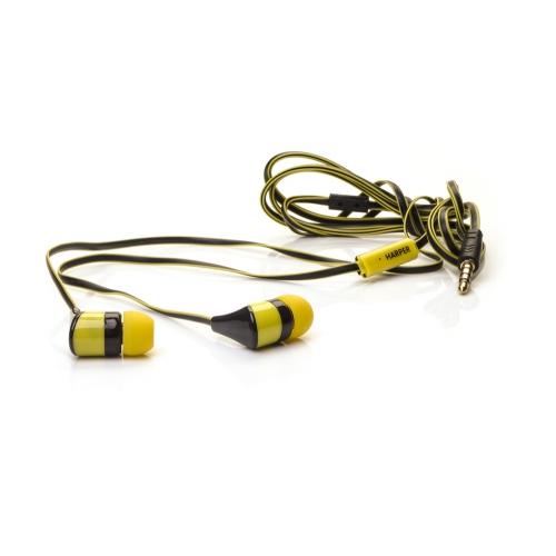 Наушники HARPER KIDS H-34 / Проводные / Внутриканальные с микрофоном / Черно-желтые / 20 Гц - 20 кГц / Двухстороннее / Mini-jack / 3.5 мм наушники harper hv 806 проводные внутриканальные с микрофоном золотой 20 гц 20 кгц 96 дб двухстороннее mini jack 3 5 мм